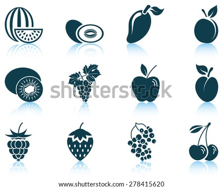 Set of fruit icon. EPS 10 vector illustration without transparency. - stock vector