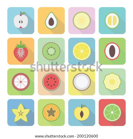 set of fruit icon with shadow, flat style - stock vector