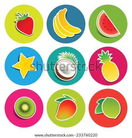 Set of fruit icons in the circles: bananas, carambola, coconut, kiwi, lime, mango, pineapple, strawberry, watermelon. Vector illustration. - stock vector
