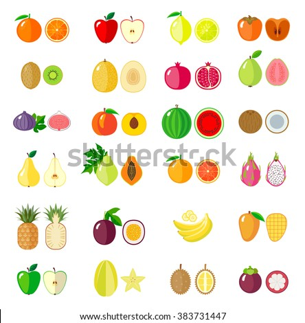Set of fruit icons. Isolated objects.  Modern flat design.  Vector illustration