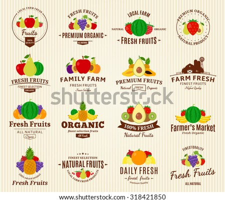 Set of fruit logo templates. Fruit labels with sample text. Fruits icons for groceries, agriculture stores, packaging and advertising. Vector logotype design. - stock vector