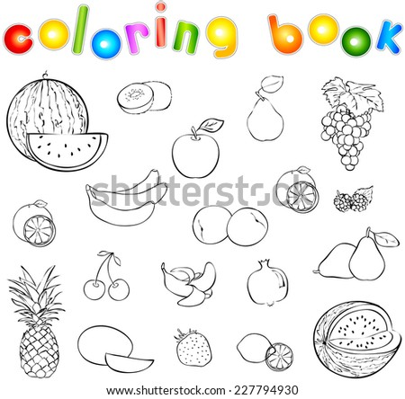 Set Of Fruits And Berries Coloring Book Vector Illustration
