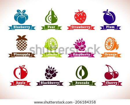 Set of fruits and berries icons, vector collection - stock vector