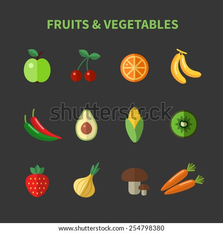 Set of fruits and vegetables flat icons. Apple and cherry, avocado and corn and carrots - stock vector