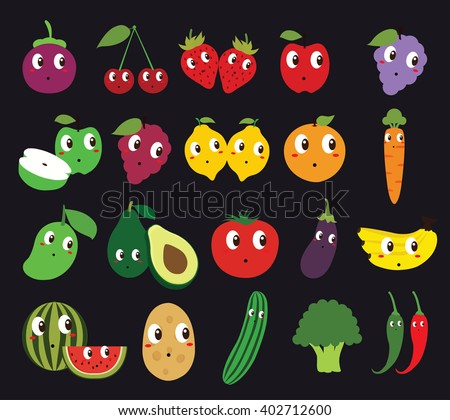 Set of Fruits and Vegetables Isolated Vector. Illustration. Cute Cartoon. Character