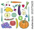 Set of fruits and vegetables with fork and knife. #3 - stock vector