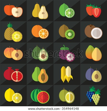 Set of fruits flat style icons vector illustration - stock vector