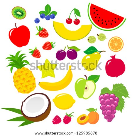 Set of fruits icons - stock vector