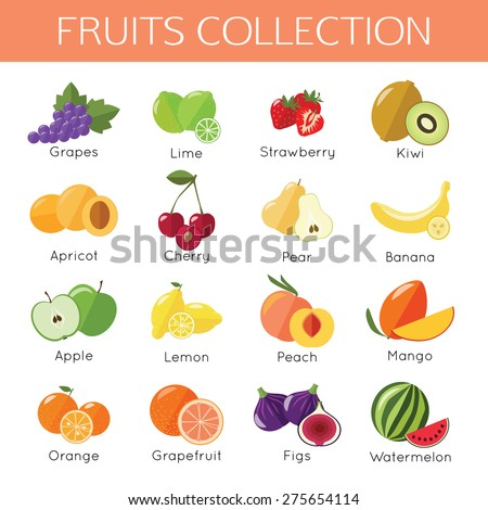 Set of fruits icons. Flat style design. Vector illustration. - stock vector