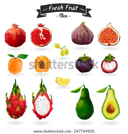Set of fruits in watercolor style. Cut, slices. Tropical fruit. Isolated. Vector. - stock vector
