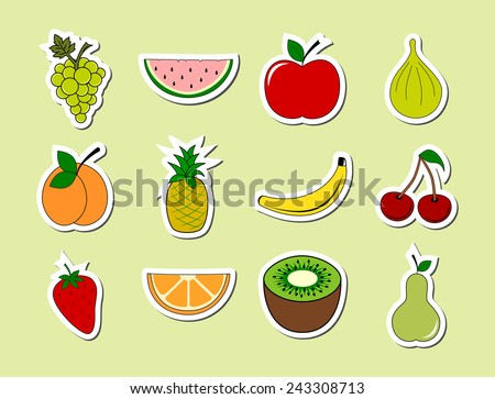 Set of fruits object stickers. Colorful ripe fruit sticky icon collection. cartoon drawing design, white frame, vector art image illustration, isolated on green background