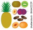 Set of fruits on the white background. Pineapple, peach, plum, date, kiwi. - stock