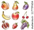 Set of fruits. Original vector illustration, imitation of watercolor painting - stock vector