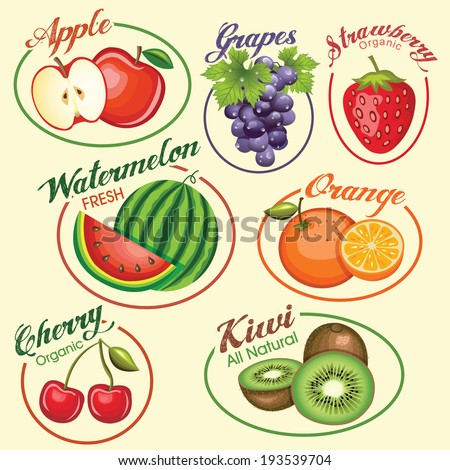 Set of fruits vector icons and illustration - stock vector