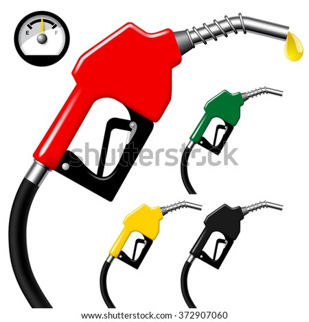 Set of fuel nozzles with hose isolated on white background with round gas tank . Vector illustration - stock vector