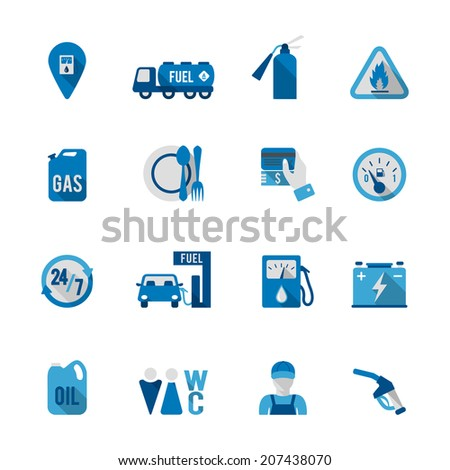 Set of fuel station car auto gasoline service icon in blue and grey color vector illustration - stock vector