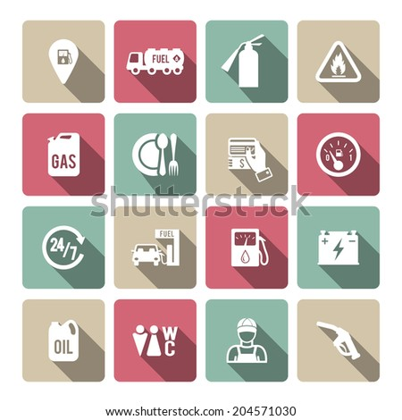 Set of fuel station car auto gasoline service icons in white with long shadow color vector illustration - stock vector