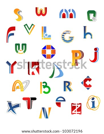 Set Of Full Alphabet Letters In Different Design Such Logo Jpeg Version Also Available