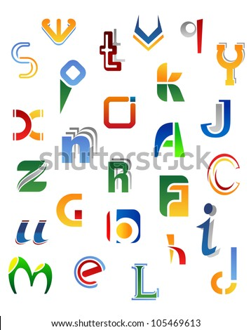 Set of full alphabet symbols from A to Z isolated on white background, such logo. Jpeg version also available in gallery
