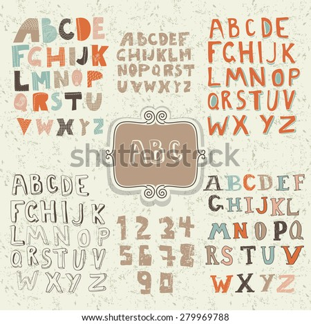 set of funky retro alphabets in vector - stock vector