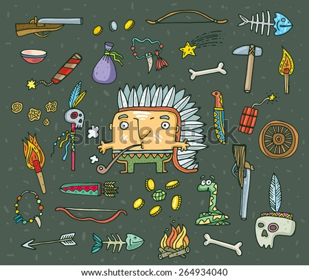 set of funny American Indian and tools. Vector. Isolated . cartoon illustration. - stock vector