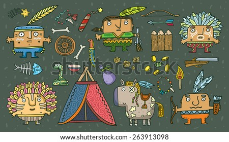 set of funny American Indians. Vector. Isolated . cartoon illustration. - stock vector