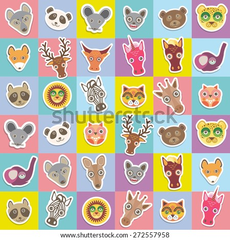 Set of funny animals muzzle seamless pattern with pink lilac blue yellow square. Vector - stock vector