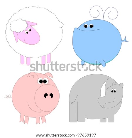 Set of funny animals - sheep, whale, pig, rhino - stock vector