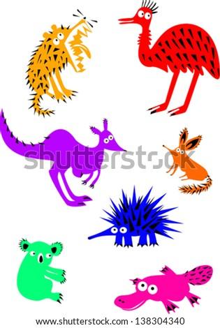 Set of Funny Australian Animals - stock vector