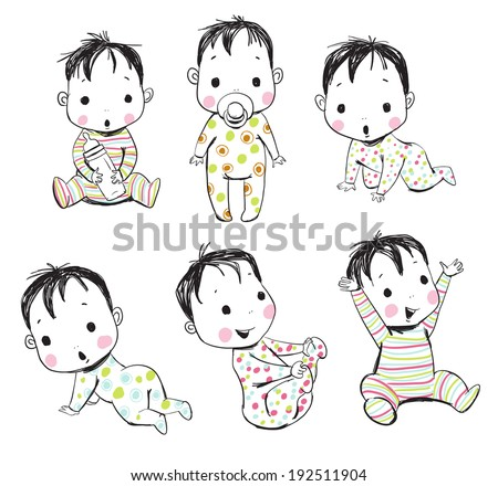 set of funny babies  - stock vector