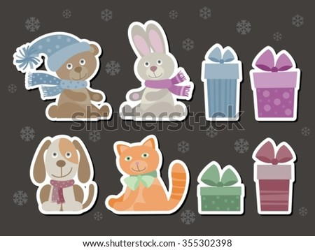 set of funny baby animals  elements like stickers, useful for many applications, your designs or scrapbooking projects