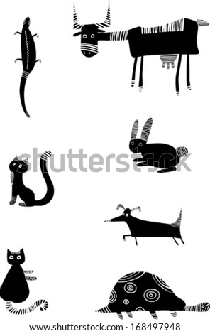 Set of funny black animals - stock vector