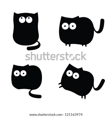 Set of funny black cats - stock vector
