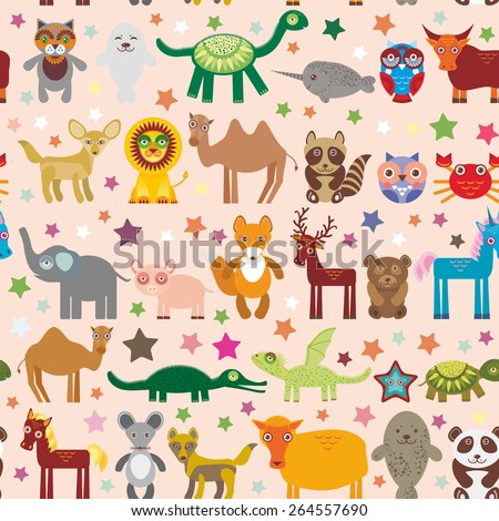 Set of funny cartoon animals character on pink seamless background. zoo. Vector - stock vector