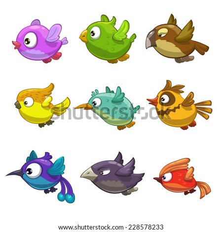 Set of funny cartoon birds, isolated vector on the white background