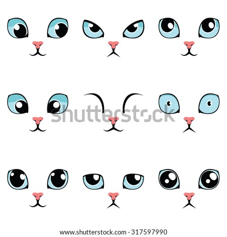 Set of funny cartoon blue cat eyes isolated on white. Vector illustration. - stock vector