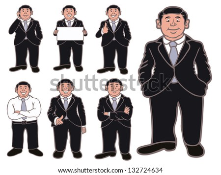Set of funny cartoon business man in various poses,vector set - stock vector