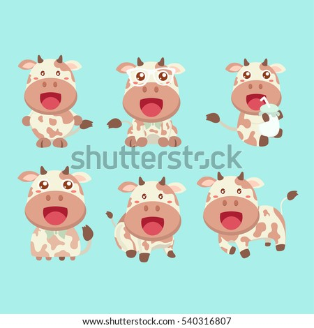 Set of funny cartoon cow in various poses.
