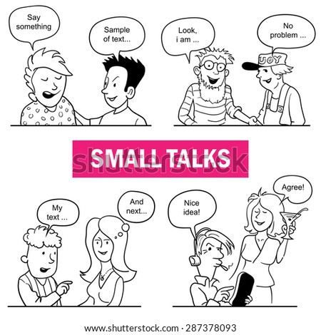 Set of Funny Cartoon Doodle People. Small Talks Situations. Black and White Sketches with Talking People. You Can Fill Dialogs Speech Bubbles over People's Heads. Vector Illustration