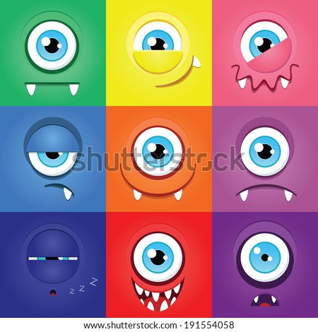 Set of funny cartoon expression monsters with one eye - stock vector