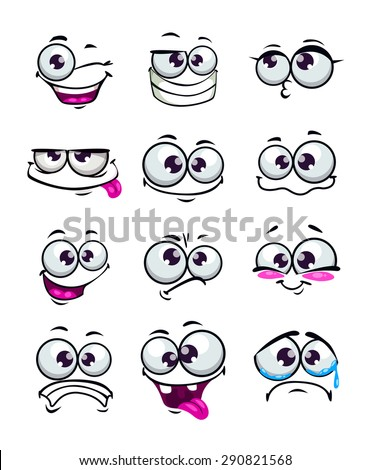 Set of funny cartoon faces, different emotions, isolated on white - stock vector