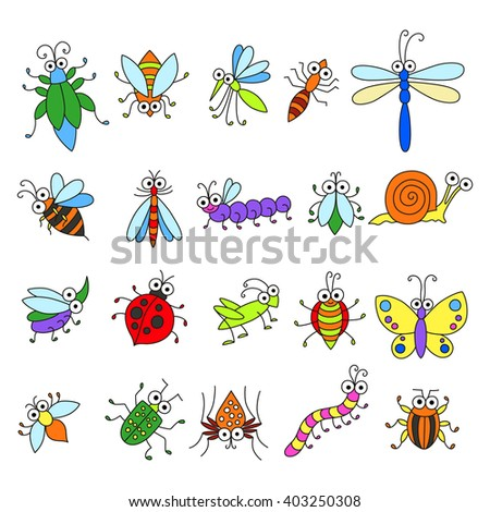 Set of funny cartoon insects isolated on white. Cute fly, butterfly, dragonfly, snail, beetle, caterpillar, ant, spider, ladybug, grasshopper, bee, mosquito. Colorful characters for you design. - stock vector