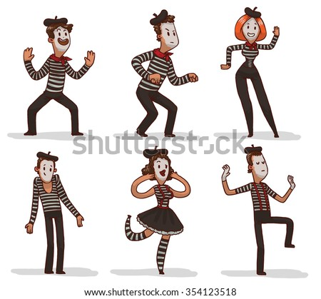 Set of funny cartoon mimes. They standing in typical poses. All they have traditional makeup. All wear traditional mimes clothes with stripes, vector illustration - stock vector