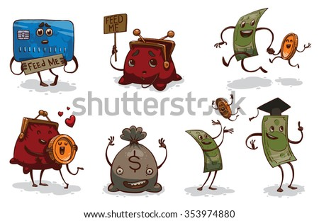 Set of funny cartoon money. Someone asking food. Another just having fun. Credit card. Wallet. Gold coin. Banknote. Money bag.  vector illustration