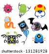 Set of funny cartoon monsters - stock vector