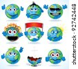 Set of Funny Cartoon Planet Earth with Various Emotions - stock vector