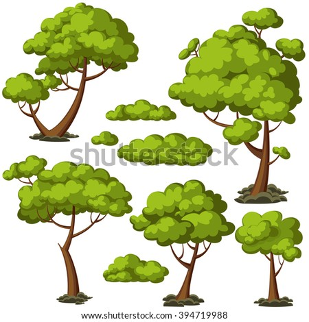 Set of funny cartoon trees and green bushes. Vector illustration. - stock vector