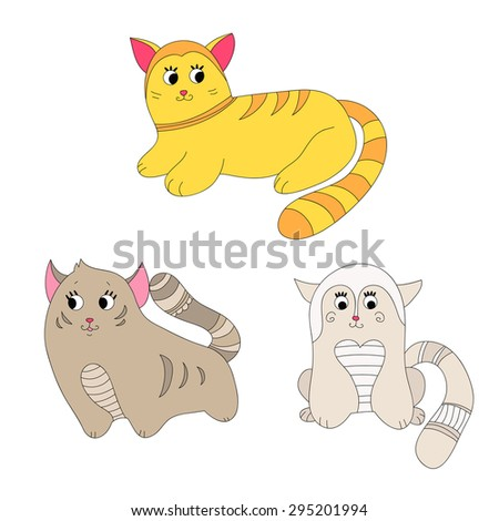 Set of funny cats in different colors: red, grey and white