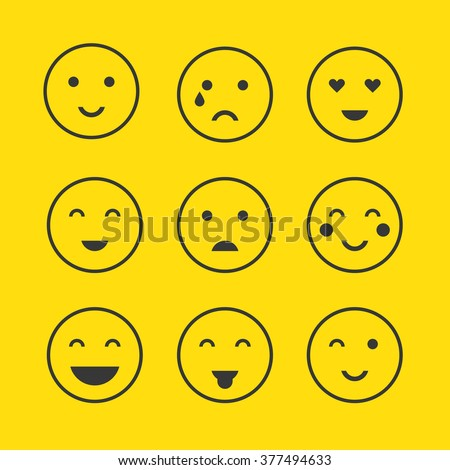 Set of funny character cartoon smiley emodzy design template