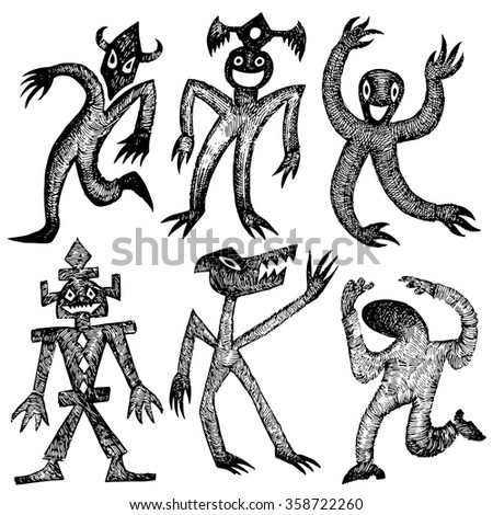 set of funny characters. Grotesque cartoon characters. Surreal creativity - stock vector